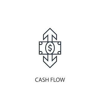 キャッシュフローの概念線のアイコン。シンプルな要素のイラスト。キャッシュフローの概念の概要シンボルデザイン。 webおよびモバイルui / uxに使用できます