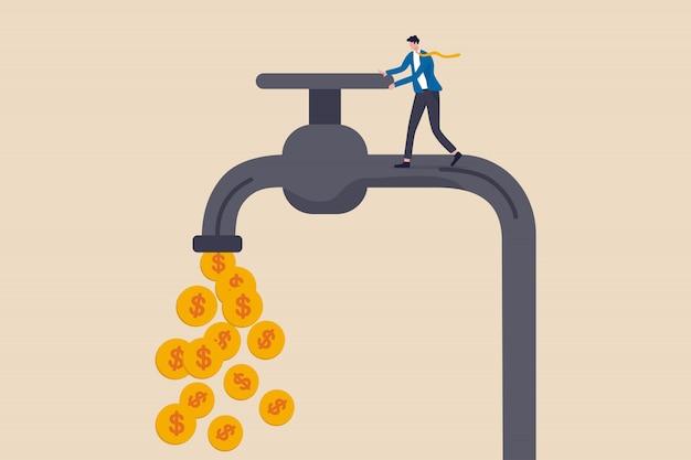 Денежный поток, получение прибыли от бизнеса или получение дохода от концепции инвестиций в акции, богатый бизнесмен, владелец бизнеса или инвестор, открывающий водопроводный кран, чтобы позволить золотому доллару чеканить деньги, вытекающие.