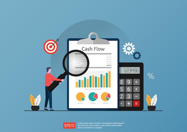 Cash flow statement concept with calculator and graph document symbol illustration.