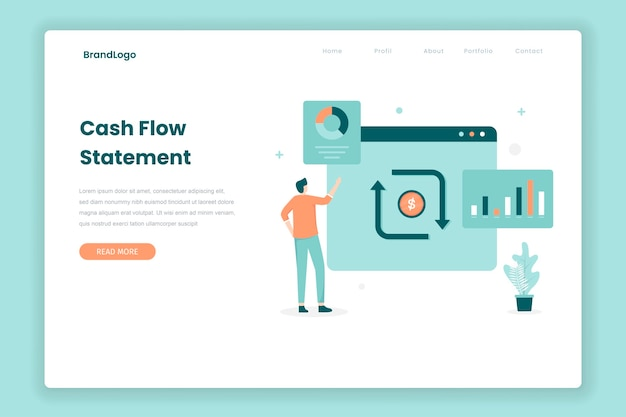 Cash flow statement landing page concept. illustration for websites, landing pages, mobile applications, posters and banners.