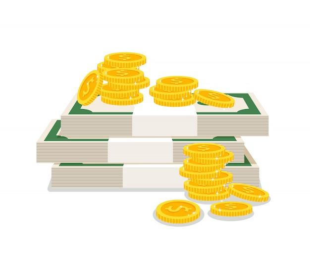 Cash money pile isolated on white