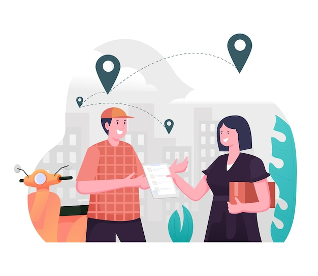 Наложенный платеж, концепция иллюстрации службы доставки