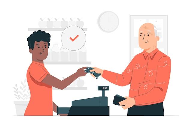 Illustrazione di concetto di pagamento in contanti