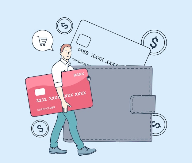 Cash payment, money transaction, saving and economy. man buyer hold huge credit card and stand near wallet. flat vector illustration