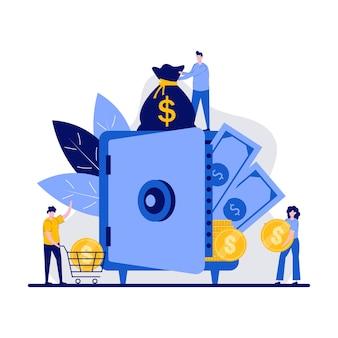 Концепция защиты денежных средств с характером. люди вкладывают деньги на счет квартиры. банковский сейф, сотрудники банка, доллары в депозитной ячейке, сберегательная метафора. можно использовать для идеи целевой страницы.
