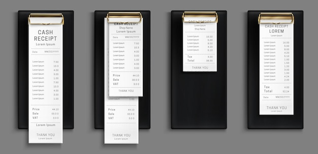 Cash receipt on black clipboard, purchase bill invoice, supermarket shopping retail sum check