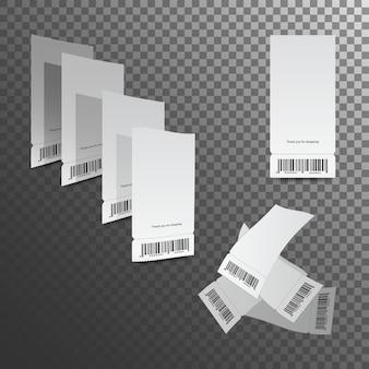 현금 영수증 그림. 종이 확인 및 재무 확인 격리. 프리미엄 벡터