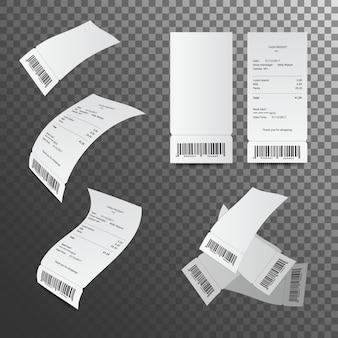 현금 영수증 그림. 종이 확인 및 재무 확인 격리.