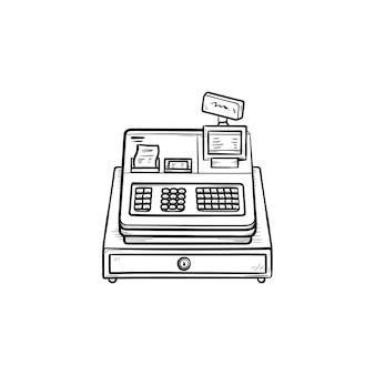 Кассовый аппарат ручной обращается наброски каракули значок. розничная торговля, обслуживание магазинов и оборудование, концепция получения магазина