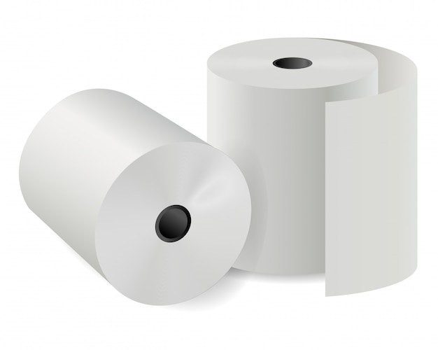 Cash register paper roll. white thermal cylinder