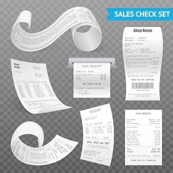 Cash register receipts realistic transparent set