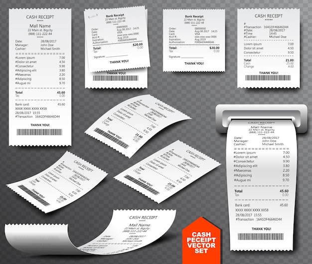 Cash register sale receipt printed on thermal rolled paper. realistic image collection isolated on transparent background. financial atm transaction check icon vector illustration.