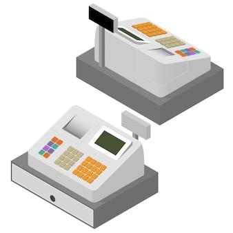 レジセット。フラットアイソメ。レジ機。領収書の印刷。登録購入。お金の循環。現金収入。ベクトルイラスト。