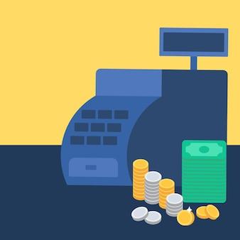 お金とコインでレジ。コマースの概念。ストアシンボル。ベクター