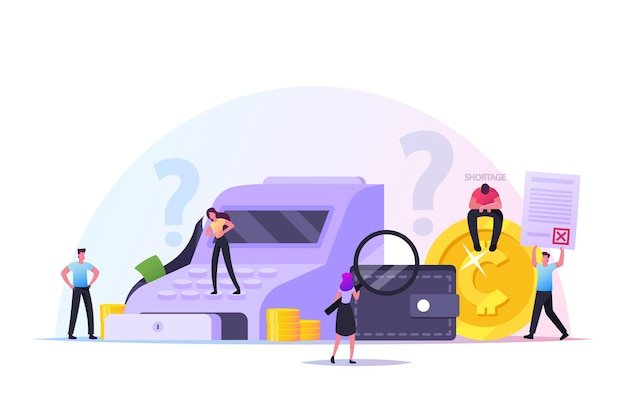 Cash shortage concept, upset characters discover money shortfall in cashier, people bankrupt. poor frustrated disappointed business men and women financial crisis, theft. cartoon vector illustration