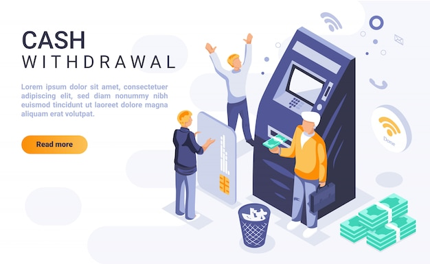 Cash withdrawal landing page banner  with isometric illustration