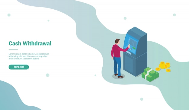 Cash withdrawal for website template or landing homepage with isometric style