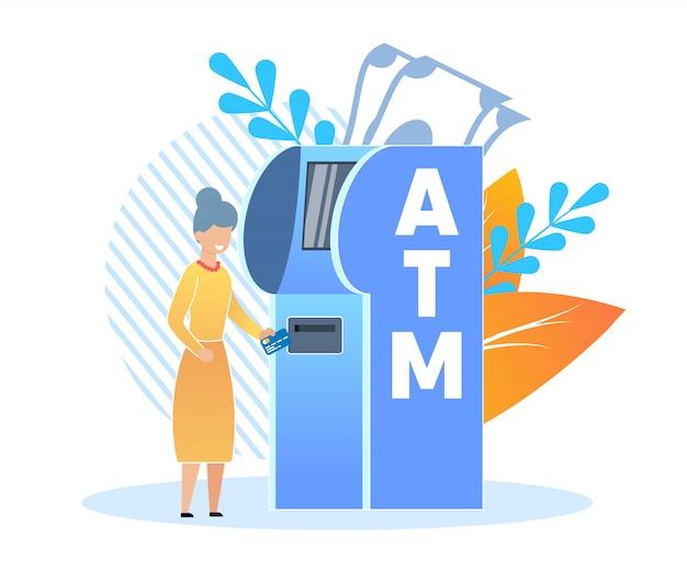 Cash withdrawals at bank terminal cartoon flat.
