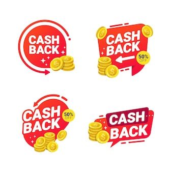 Cashback badges template  tags for refund money