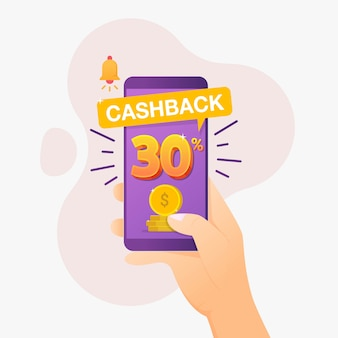 Cashback banner design concept for saving and refund money