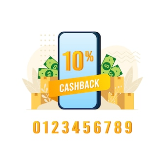 Cashback баннер дизайн иллюстрация