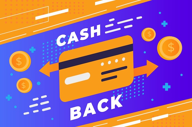 Кэшбэк баннер веб-шаблон и кредитная карта