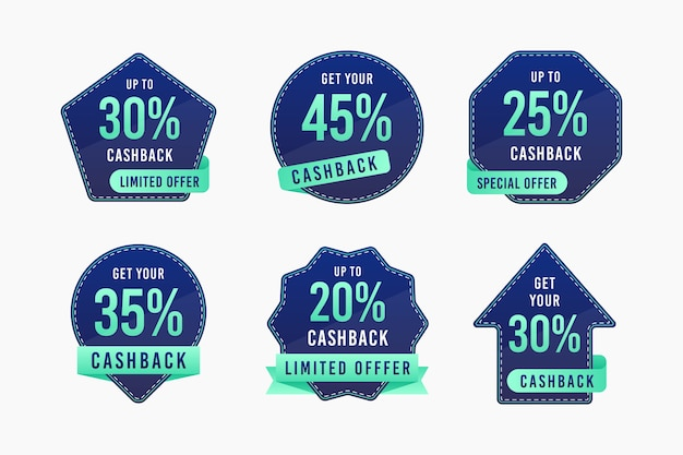 Cashback collection of labels with discount