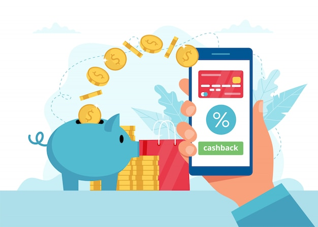 Cashback concept - hand holding a smartphone with app, money goes in a piggybank.