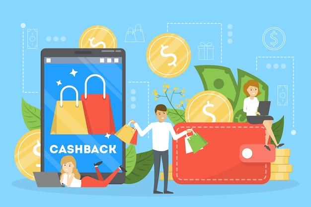 Концепция кэшбэка. деньги падают с мобильного