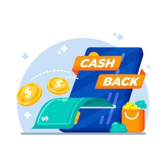 紙幣と硬貨のキャッシュバックコンセプト