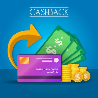 Cashback concept with banknotes and credit card