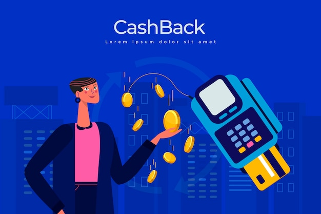 Cashback concept with coins and illustration