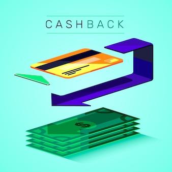 クレジットカードとお金でキャッシュバックのコンセプト