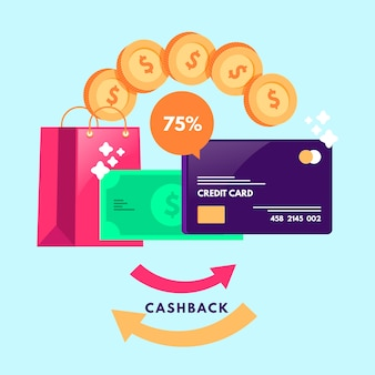 Cashback concept with isometric design