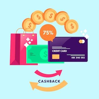 Концепция cashback с изометрическим дизайном