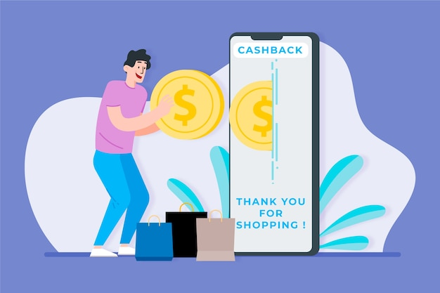 Cashback concept with man and smartphone