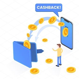 Cashback concept with money
