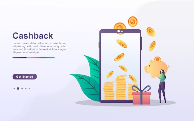Cashback concept with people character
