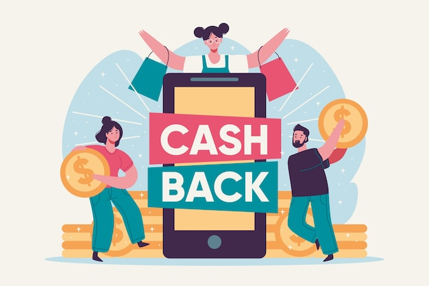 Cashback concept with people and coins