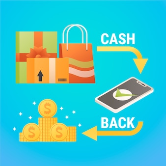 Cashback concept with shopping bags