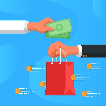 Cashback concept with shopping