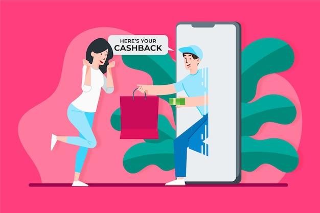Концепция cashback с женщиной и телефоном