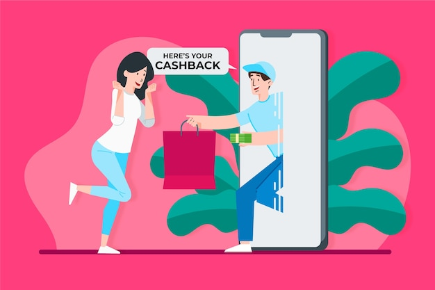 Cashback concept with woman and phone