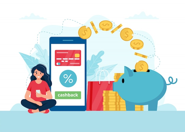 Cashback concept - woman with smartphone, money goes in a piggybank.