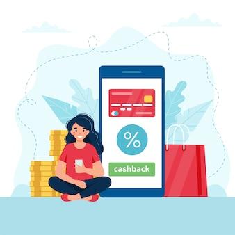 Концепция cashback - женщина с смартфон, смартфон с кредитной карты на нем.