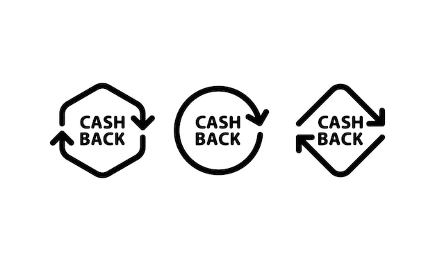 Cashback icon set in black. receive money sign. vector on isolated white background. eps 10.