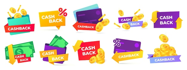 Cashback label. money refund badges, cash back deal and return coins from purchases and payment labels set.