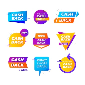 Cashback labels and badges with geometric shapes