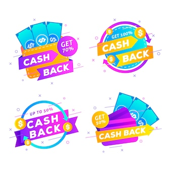Cashback labels flat design with ribbons