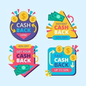 Cashback labels illustration set